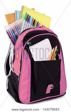 School bag backpack pink with student supplies