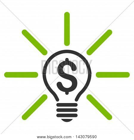 Business Idea Bulb icon. Vector style is bicolor flat iconic symbol with rounded angles, eco green and gray colors, white background.