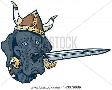 Vector cartoon clip art illustration of a funny cute Blue Great Dane dog head mascot wearing a viking helmet and holding a sword in its mouth. Also a pun.