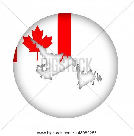 Canada state of Newfoundland Island map flag button isolated on a white background.