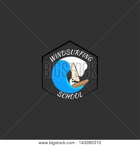 windsurfing logo Isolated on white background. vector illustration