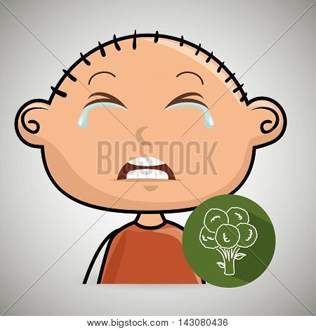 boy vegetable cry vector illustration graphic eps 10