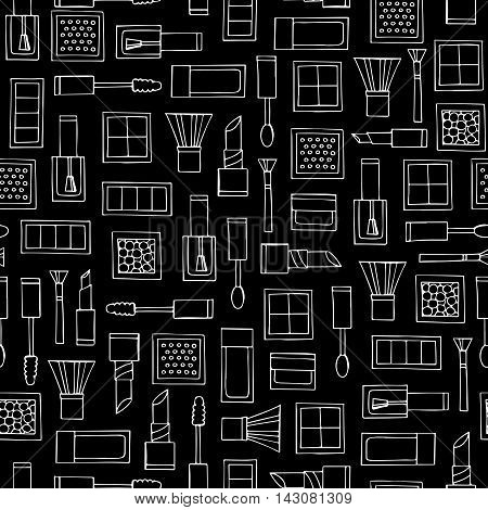 Vector seamless pattern with hand drawn decorative cosmetics on black color. Pattern on the theme of fashion and make up. Background for use in design, packing, textile, fabrics