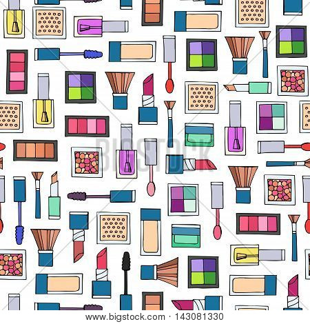 Vector seamless pattern with hand drawn decorative cosmetics. Pattern on the theme of fashion and make up. Background for use in design, packing, textile, fabrics