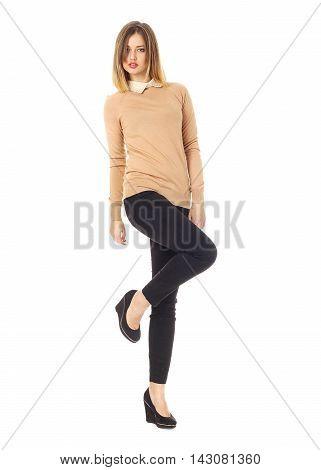 Portrait Of Stylish Model In Black Jeans
