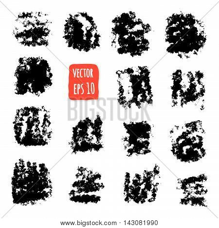 Grunge paint. Design element set. Hand drawn Brush texture. Vector Illustration, Isolated on white