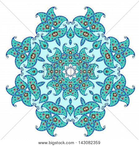 Blue abstract vector print. Vintage floral decorative round element for design.