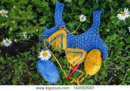 Crocheted Swimsuit And Top Lies On The Grass, Along With Balls Of Cotton Yarn  Crochet Hook