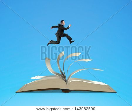 Man running on top of flipping pages of open book isolated in blue background 3D rendering