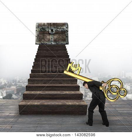 Man Carrying Euro Sign Key Toward Treasure Chest
