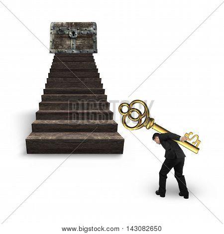 Man Carrying Dollar Sign Key Toward Treasure Chest