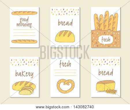 Cute doodle food cards brochures tags with bread baguette bagel. Cartoon bread background. Printable templates set for bakery