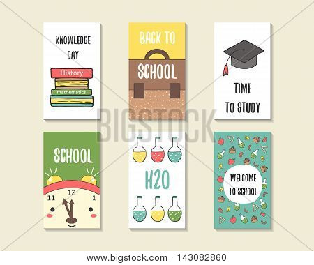 Cute doodle back to school cards brochures invitations with books backpack student hat chemistry flask apple alarm clock. Cartoon objects background. Printable templates tags set