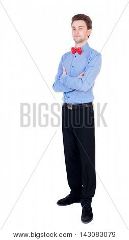 Referee suit and tie butterfly separates boxers. Isolated over white background. Proud businessman standing arms folded