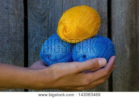Female Hand Holding Three Cotton Yarn Balls