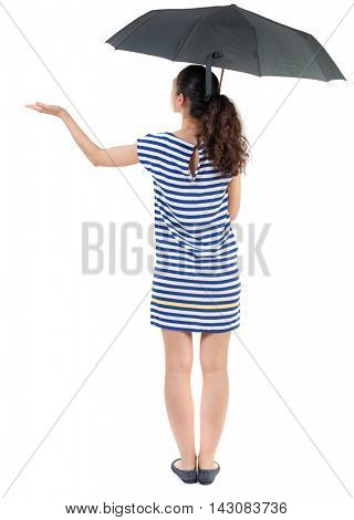young woman in  dress under an umbrella. Rear view people collection.  backside view of person.  Isolated over white background. Swarthy girl in a checkered dress checks whether the rain ended.