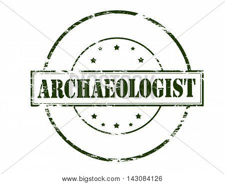 Rubber stamp with word archaeologist inside vector illustration