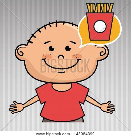 kid french fries icon vector illustration graphic
