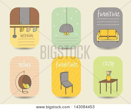 Cute doodle interior furniture cards brochures postcards with lamp sofa chair table vase armchair kitchen supplies cups Cartoon objects background Printable templates tags set