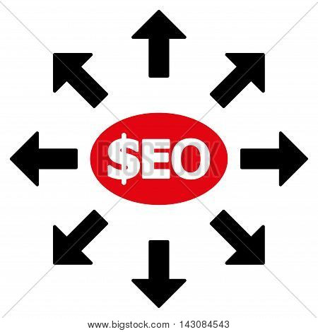 Seo Marketing icon. Vector style is bicolor flat iconic symbol with rounded angles, intensive red and black colors, white background.