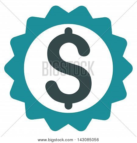Financial Seal icon. Vector style is bicolor flat iconic symbol with rounded angles, soft blue colors, white background.
