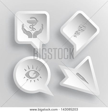 4 images: pharma symbol in hands, dna, eye, thermometer. Medical set. Paper stickers. Vector illustration icons.