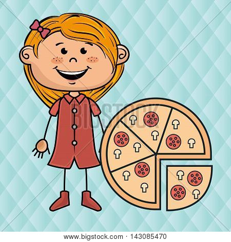 girl pizza fast food vector illustration graphic