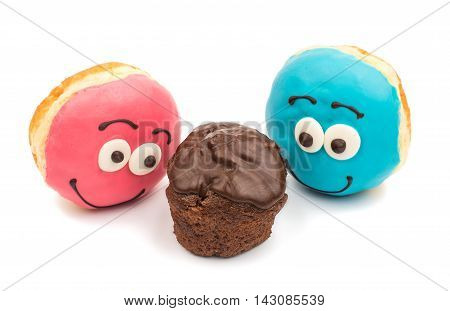 Colorful delicious donuts isolated on white background cutout