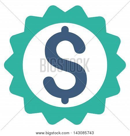Financial Seal icon. Vector style is bicolor flat iconic symbol with rounded angles, cobalt and cyan colors, white background.