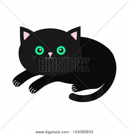 Cute lying black cartoon cat with moustache whisker. Funny character. White background. Isolated. Flat design. Vector illustration