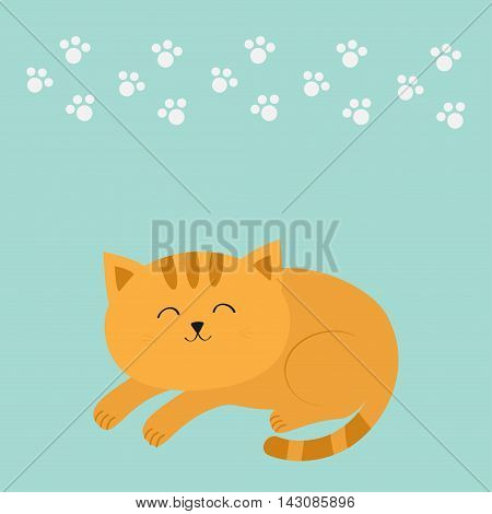 Cute lying sleeping orange cat with moustache whisker. Funny cartoon character. White animal paw print. Blue background. Isolated. Flat design. Vector illustration