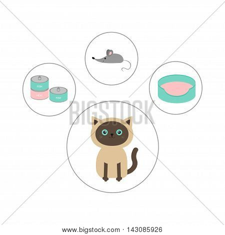 Siamese cat round circle icon set in shape of paw print. Cat stuff object. Mouse toy bed food tin can. Flat design. Cute cartoon character. Happy sitting kitten. White background. Isolated. Vector