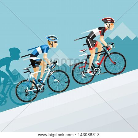 The Group of cyclists man in road bicycle racing go to the mountain. Vector illustrator.