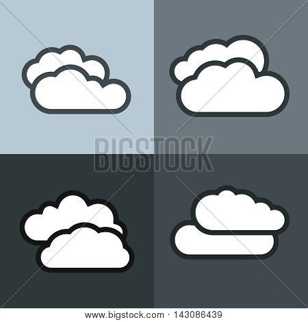 White flat cloud icons on color background. Cloudy weather icon. Vector illustration
