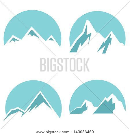 White mountain flat icons on blue background. Peak of mountain. Vector illustration
