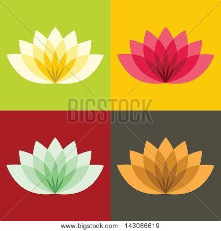 Flat lotos flowers on color background. Blossom floral plant, vector illustration