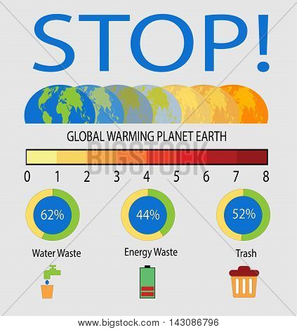 Global Warming background with World map planet