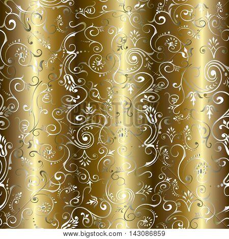 Gold luxury drapery floral vintage vector seamless pattern background with vintage  flowers and ornaments. Stylish  illustration and rich 3d decor elements with shadow and highlights. Endless elegant  texture.