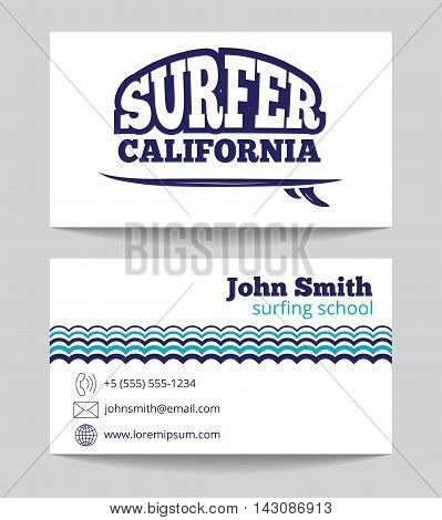 Surf instructor business card both sides template. Surfing school vector illustration