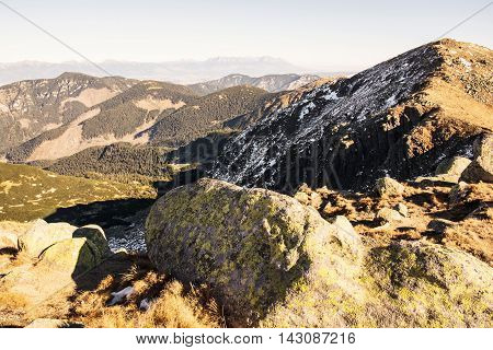 Footpath leading up the peak Dumbier Low Tatras Slovak republic. Big stones. Hiking theme. Mountains scene.