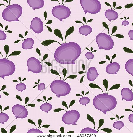 Background abstract purple cartoon beetroot. Tuber with leaves.