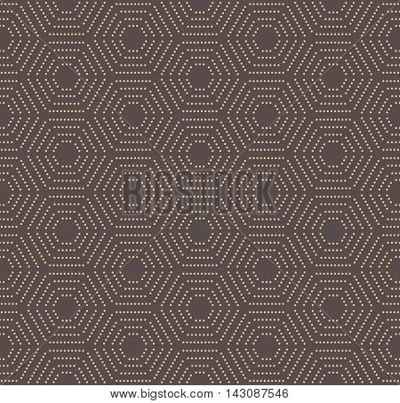 Geometric brown and golden pattern with hexagonal dotted elements. Seamless abstract modern pattern