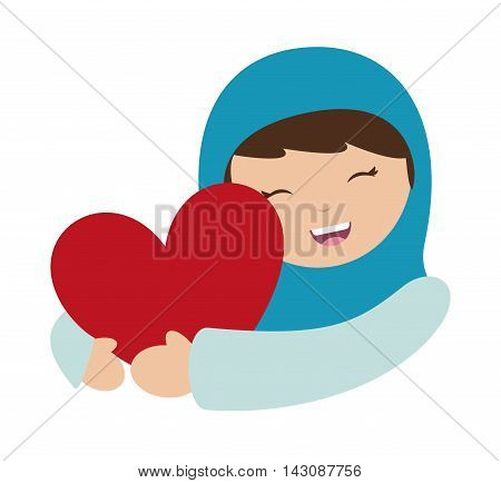 virgin mary character isolated icon vector illustration design