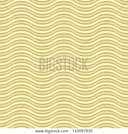 Seamless ornament. Modern geometric pattern with repeating golden waves and circles