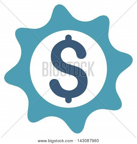 Money Seal icon. Vector style is bicolor flat iconic symbol with rounded angles, cyan and blue colors, white background.