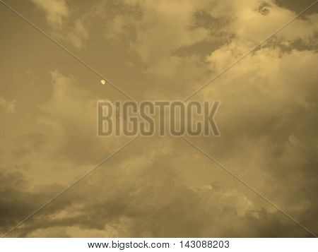 Blue Blue Sky With Clouds Background Sepia