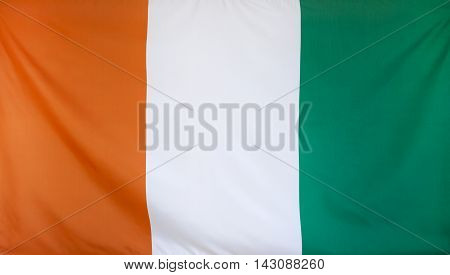 Ivory Coast Flag real fabric seamless close up