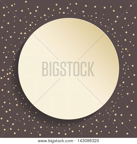 Nice frame with golden dots and volume circle. Fine greeting card