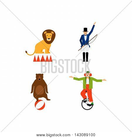 Circus vector flat icons set with lion bear snd clown. Vector illustration