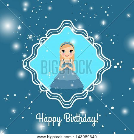 Happy Birthday blue greeting card with fairy princess. Vector illustration